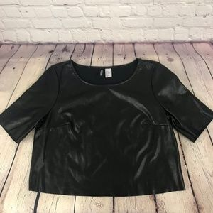 Divided by H&M Black Faux Leather Crop Top Sz 6